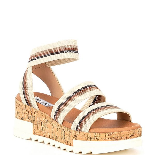 スティーブ マデン レディース サンダル シューズ Bandi Elastic Stripe Cork Flatform Sandals Beige/Multi