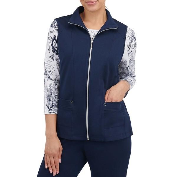 アリソンダーレイ レディース ジャケット&ブルゾン アウター Petite Size San Remo Knit Cotton Blend Zip Front Vest True Navy