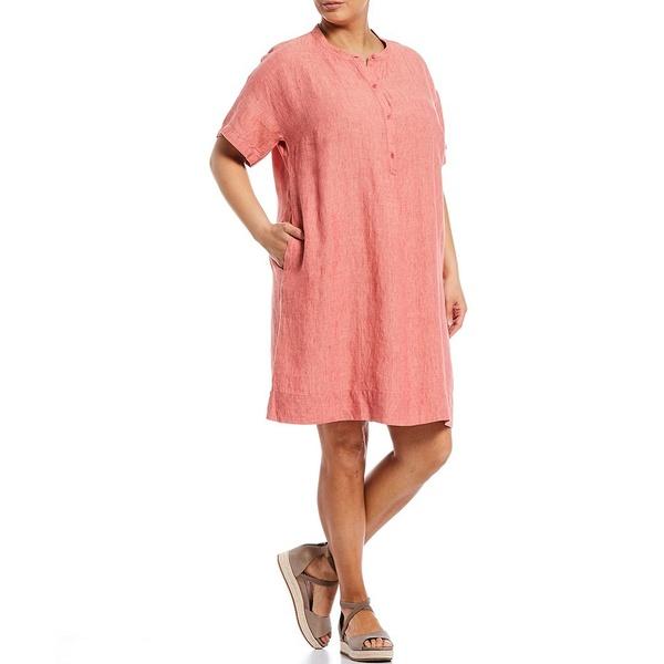 エイリーンフィッシャー レディース ワンピース トップス Plus Size Washed Organic Linen Delave Short Sleeve Shirt Dress Bright Sandstone