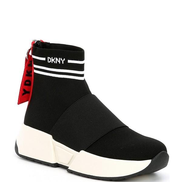 ダナ キャラン ニューヨーク レディース サンダル シューズ Marini Zip Back Logo High Top Sock Sneakers Black/White