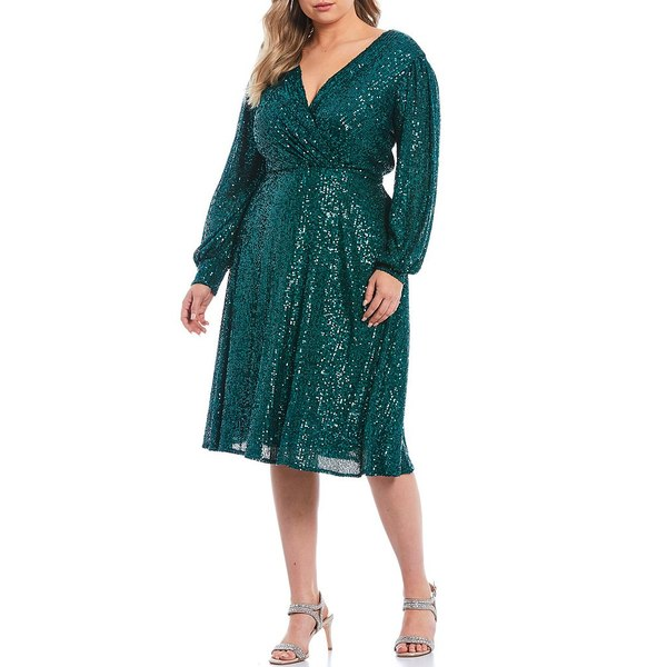 タハリエーエスエル レディース ワンピース トップス Plus Size Stretch Allover Sequin Faux Wrap Dress Emerald