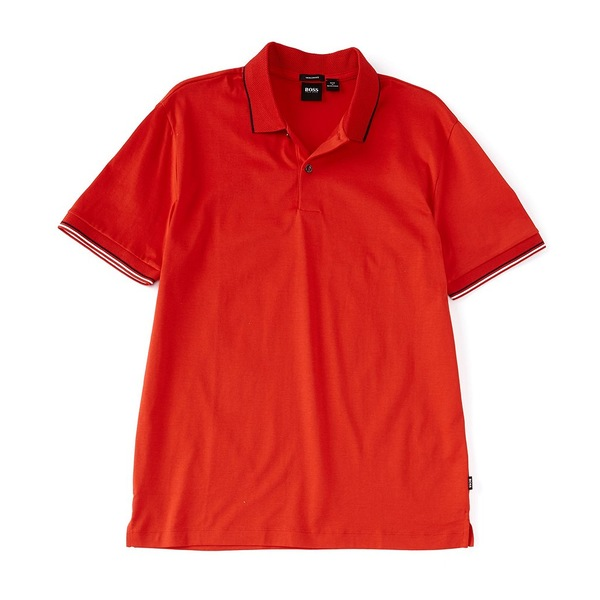 ヒューゴボス メンズ ポロシャツ トップス BOSS Parlay Leisure Jersey Short-Sleeve Polo Shirt Red
