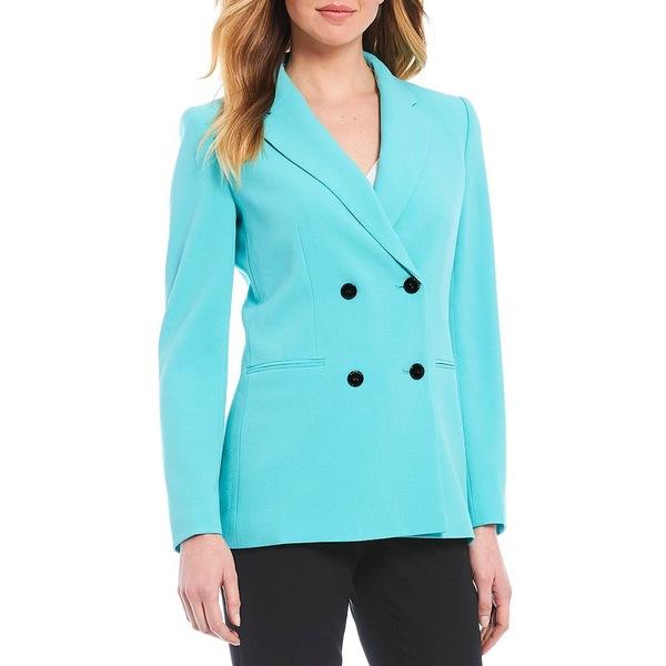 タハリエーエスエル レディース ジャケット&ブルゾン アウター Long Sleeve Pebble Crepe Double Breasted Notch Lapel Jacket Blue Turquoise
