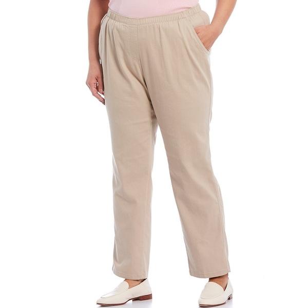 アリソンダーレイ レディース カジュアルパンツ ボトムス Plus Size Twill Pull-On Straight Leg Pants Light Khaki