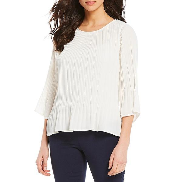 インベストメンツ レディース シャツ トップス 3/4 Sleeve Pleated Top Soft White