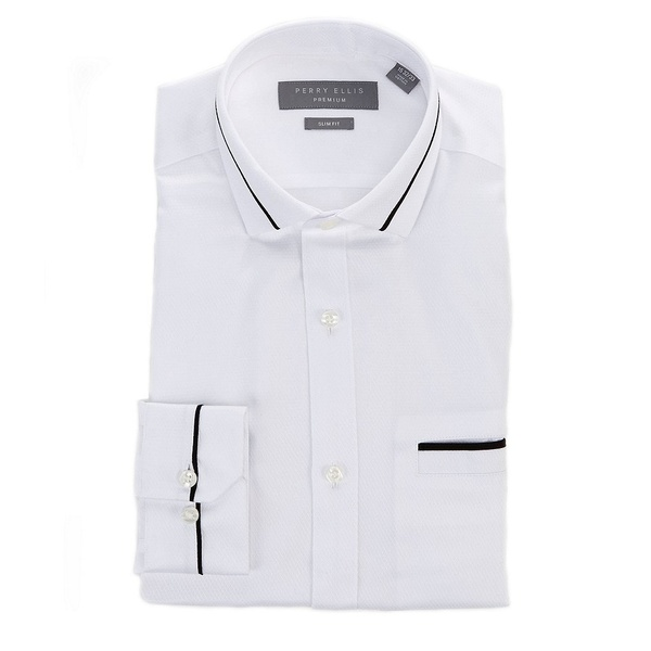 ペリーエリス メンズ シャツ トップス Premium Non-Iron Slim-Fit Spread-Collar Tuxedo Shirt White
