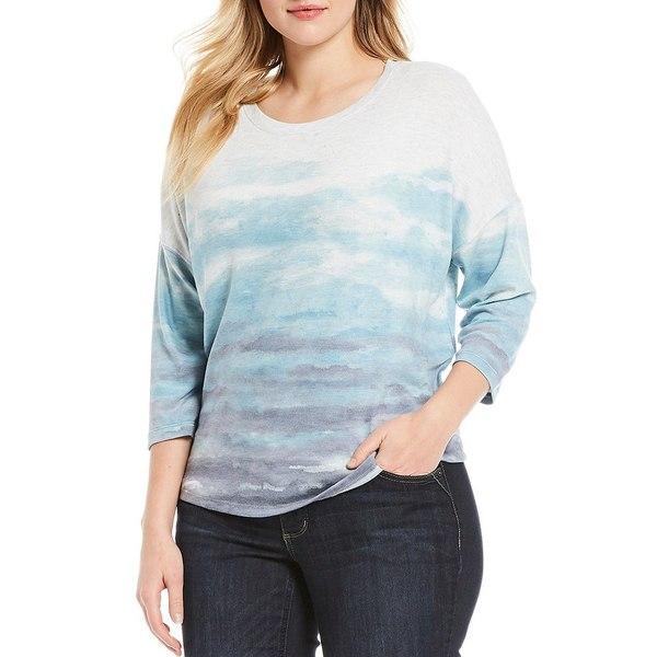 デモクラシー レディース Tシャツ トップス Plus Size Scoop Neck 3/4 Sleeve Sublimated Top Jade Stone