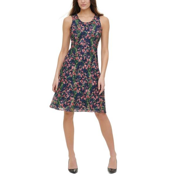 トミー ヒルフィガー レディース ワンピース トップス Floral-Print Lace A-Line Dress Sky Captain Multi