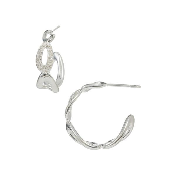 イッポリスタ レディース 上質 アクセサリー ピアス 買取 イヤリング SILVER 全商品無料サイズ交換 Cherish Hoop Earrings 0.12 Link Pave - ctw Diamond