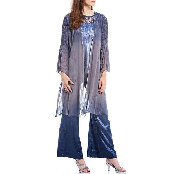 登場! コマロフ レディース ワンピース トップス Duster Ombre Chiffon Charmeuse Lace 3-Piece Pant Set Concrete Blue Ombre, ANNO LUCE ROSA c861d08b
