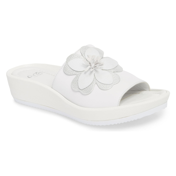 アラ レディース サンダル シューズ ara Thea Wedge Slide Sandal (Women) White Leather