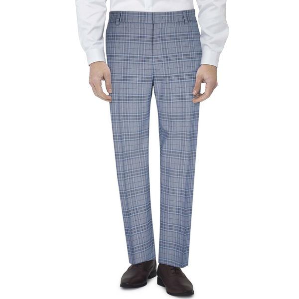 トミー ☆最安値に挑戦 ヒルフィガー メンズ ボトムス カジュアルパンツ Blue Plaid 低価格 Men's 全商品無料サイズ交換 Flex Stretch Slim-Fit Pants Suit