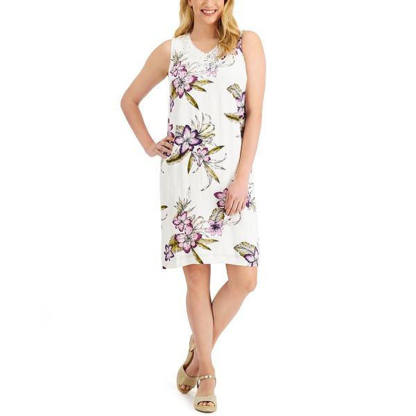 最安値挑戦 ジェイエムコレクション レディース トップス ワンピース Bright White Cb 新生活 全商品無料サイズ交換 Macy's Dress Floral-Print Created Tropica Shift for