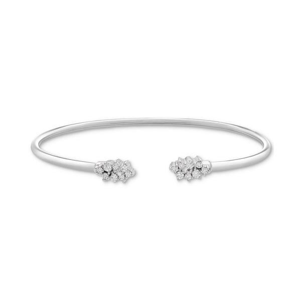 ラップド レディース アクセサリー ブレスレット バングル アンクレット Sterling Silver 全商品無料サイズ交換 Diamond Scattered Cluster 4 Created Bangle Bracelet for 1 in 1着でも送料無料 Flex Macy's ct. 送料込 Cuff t.w.