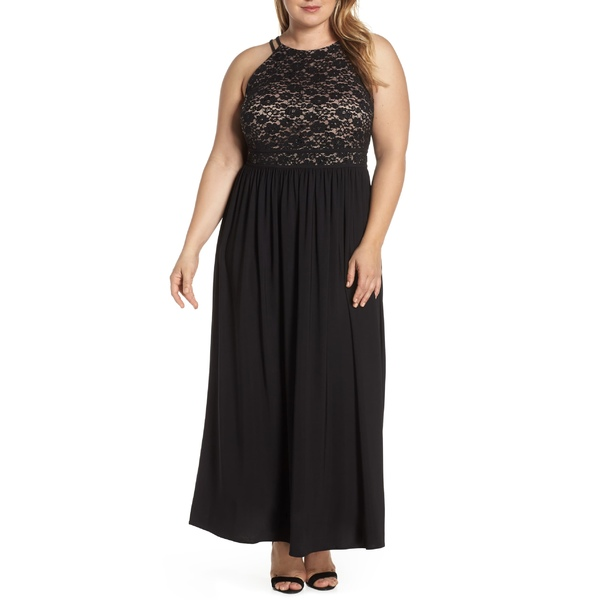 モーガン レディース ワンピース トップス Morgan & Co. Lace Bodice Evening Dress (Plus Size) Black/ Nude