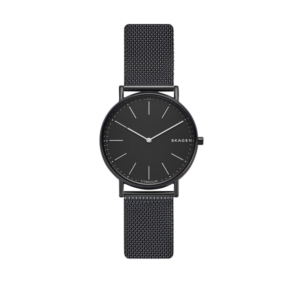 スカーゲン メンズ 腕時計 アクセサリー Signatur Slim Titanium & Stainless Steel Mesh-Strap Watch Black