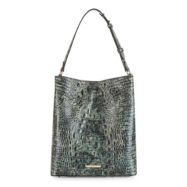 ブランミン レディース トートバッグ バッグ Large Glacier Melbourne Amelia Croc-Embossed Leather Tote Glacier