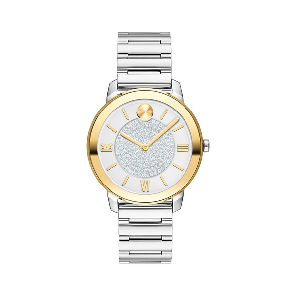 モバド レディース 腕時計 アクセサリー Bold Yellow Gold Ion-Plated, Stainless Steel & Pavé Crystal Bracelet Watch Silver