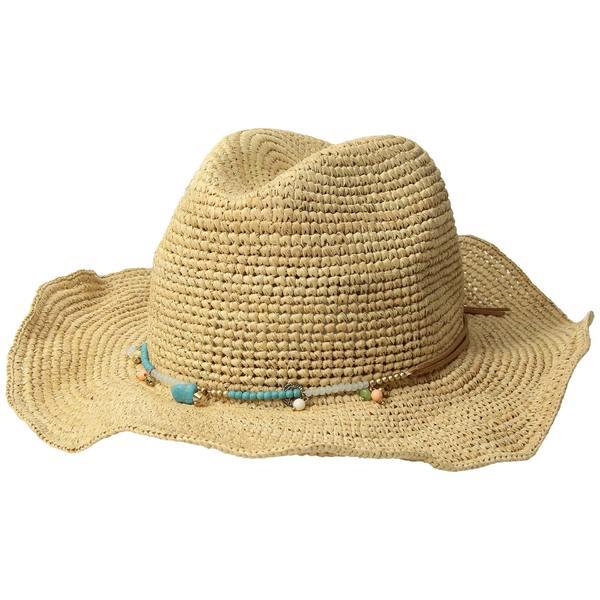 サンディエゴハット レディース 帽子 アクセサリー RHC1090OS Crochet Raffia w/ Beaded Trim and Faux Suede Tie Natural