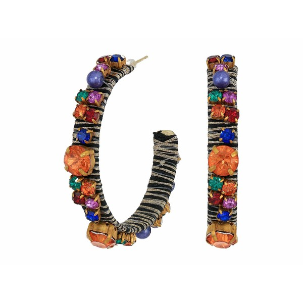 ケネスジェイレーン レディース ピアス&イヤリング アクセサリー Gold Threaded Pierced Hoop Earrings with Multicolor Gemstones Gold/Multi