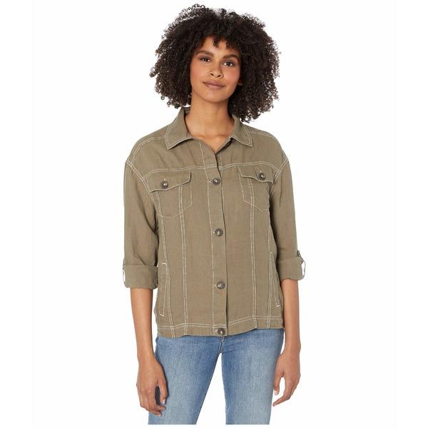 マイケルスターズ レディース コート アウター Maliah Relaxed Woven Linen Jacket with Contrast Stitching Camo