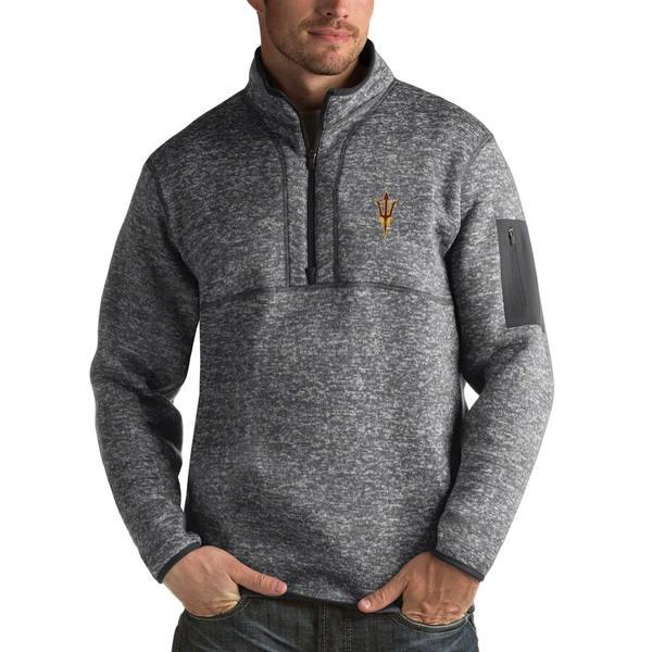 アンティグア メンズ ジャケット&ブルゾン アウター Arizona State Sun Devils Antigua Fortune 1/2-Zip Pullover Sweater Heathered Charcoal