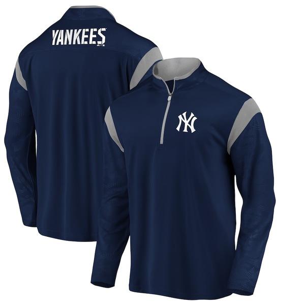 ファナティクス メンズ ジャケット&ブルゾン アウター New York Yankees Fanatics Branded Defender Primary Half-Zip Pullover Jacket Navy