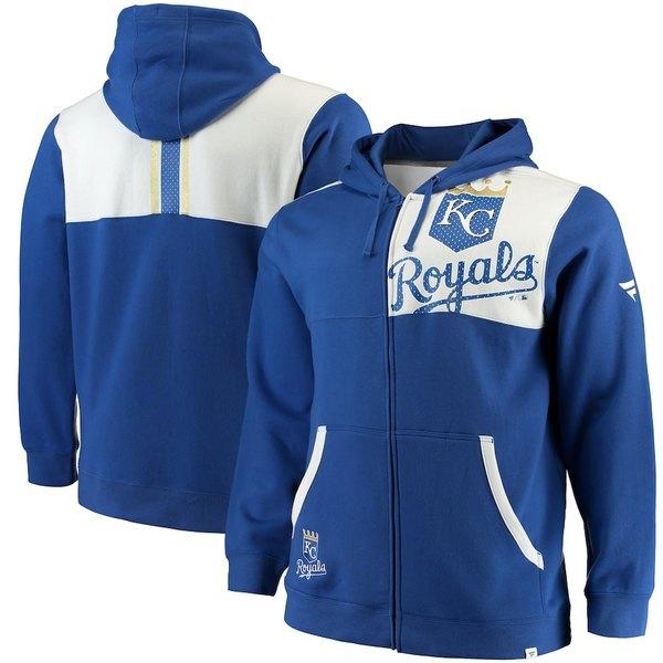 ファナティクス メンズ パーカー・スウェットシャツ アウター Kansas City Royals Fanatics Branded Big & Tall Iconic Bold Full-Zip Hoodie Royal/White