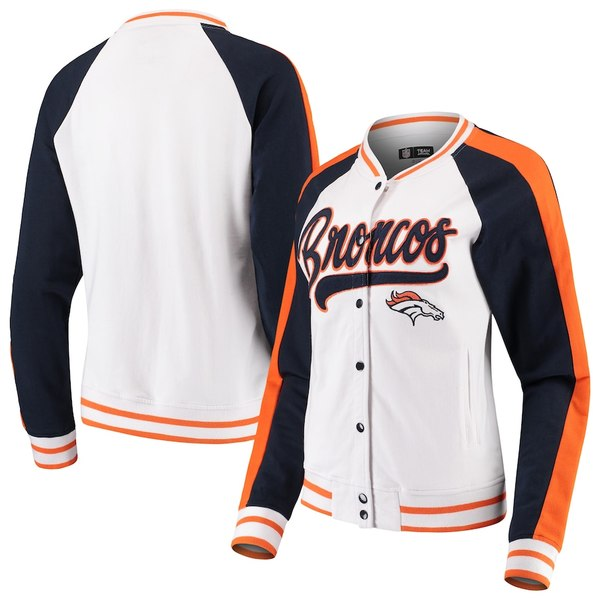 ニューエラ レディース ジャケット&ブルゾン アウター Denver Broncos New Era Women's Varsity Full Snap Jacket White/Navy