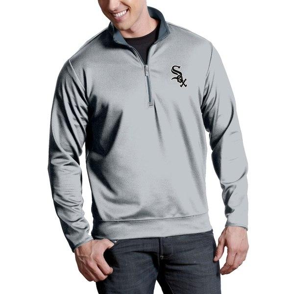 アンティグア メンズ ジャケット&ブルゾン アウター Chicago White Sox Antigua Leader Quarter-Zip Pullover Jacket Silver