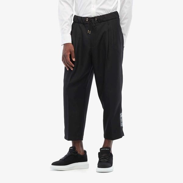 ベルサーチ メンズ カジュアルパンツ ボトムス Elastic Cropped Pleated Trousers Black