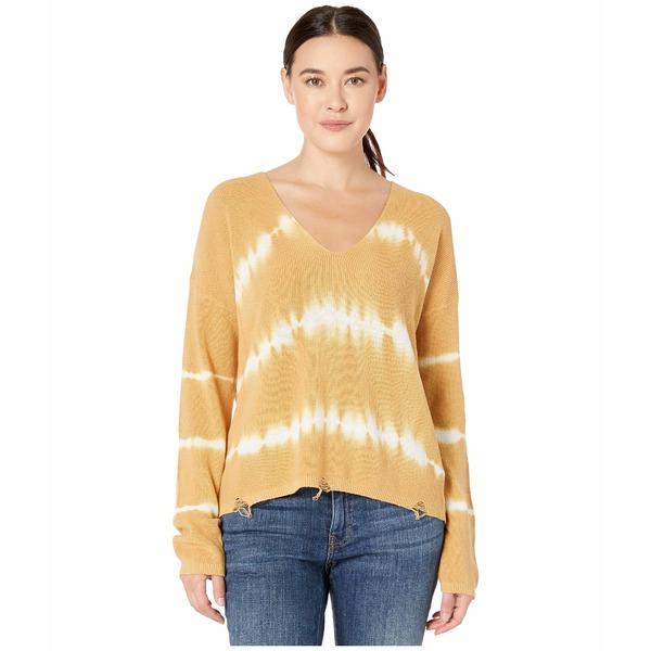 アメリカンローズ レディース ニット&セーター アウター Athena V-Neck Tie-Dye Sweater Camel