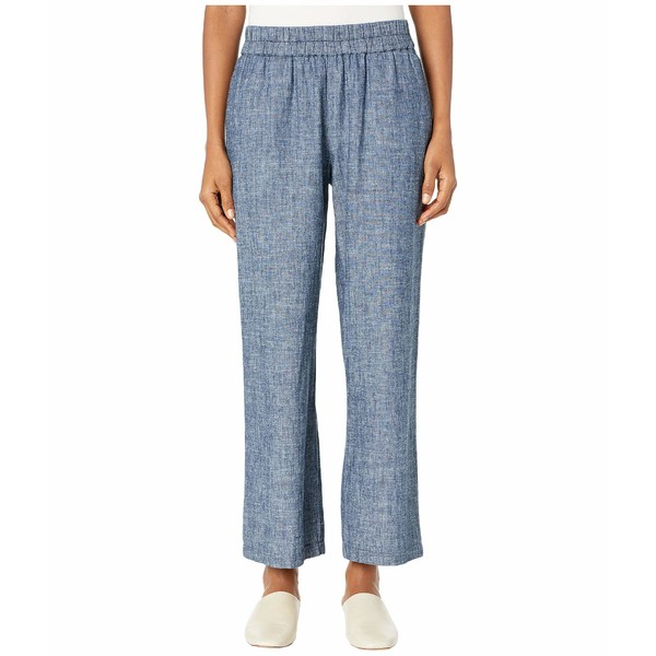 エイリーンフィッシャー レディース デニムパンツ ボトムス Hemp & Organic Cotton Chambray Straight Pants in Denim Denim