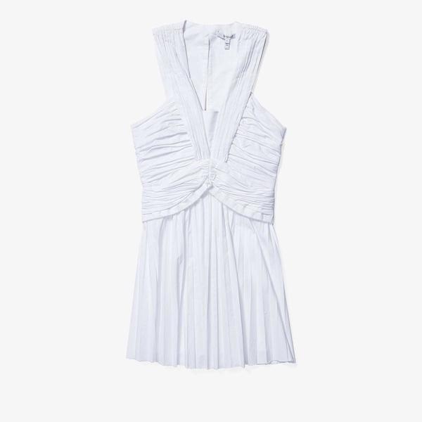 デレクラムテンクロスバイ レディース ワンピース トップス Ruched Pleated Mini Dress White