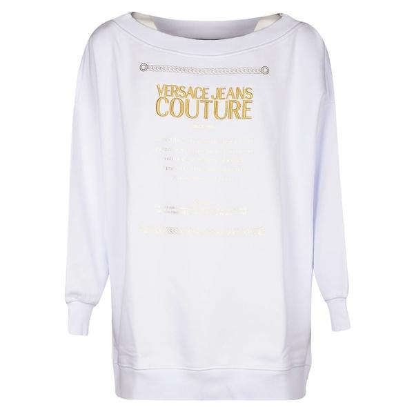 ベルサーチ レディース パーカー・スウェットシャツ アウター Versace Jeans Couture Logo Sweatshirt Bianco