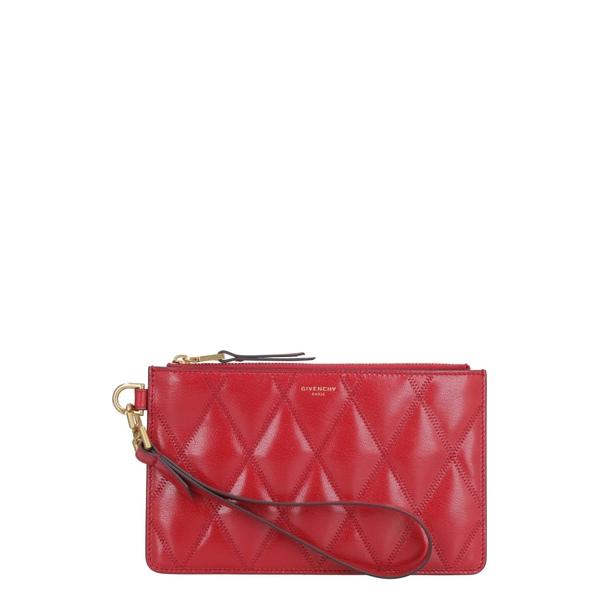 ジバンシー レディース クラッチバッグ バッグ Givenchy Small Quilted Leather Flat Pouch red
