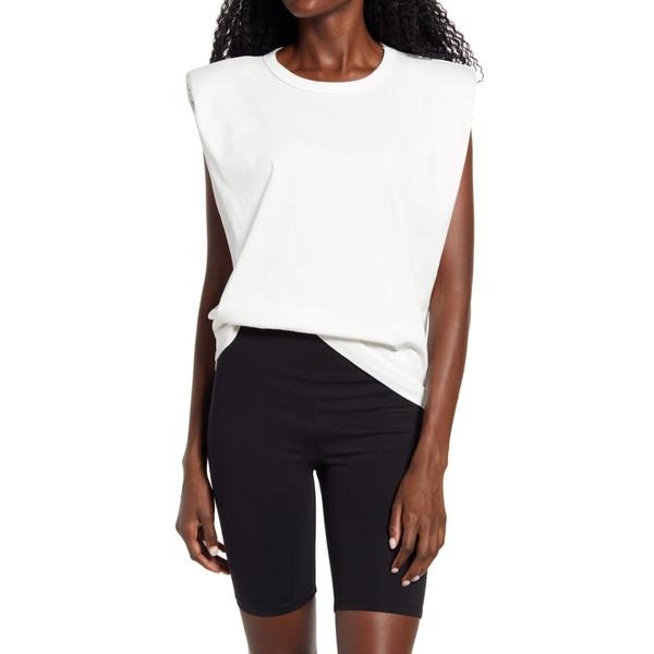 エンドレスローズ レディース Tシャツ トップス Padded Shoulder T-Shirt White