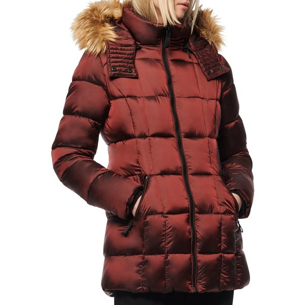 マークニューヨーク レディース コート アウター Riverdale Faux Fur Hooded Quilted Puffer Coat Burgundy