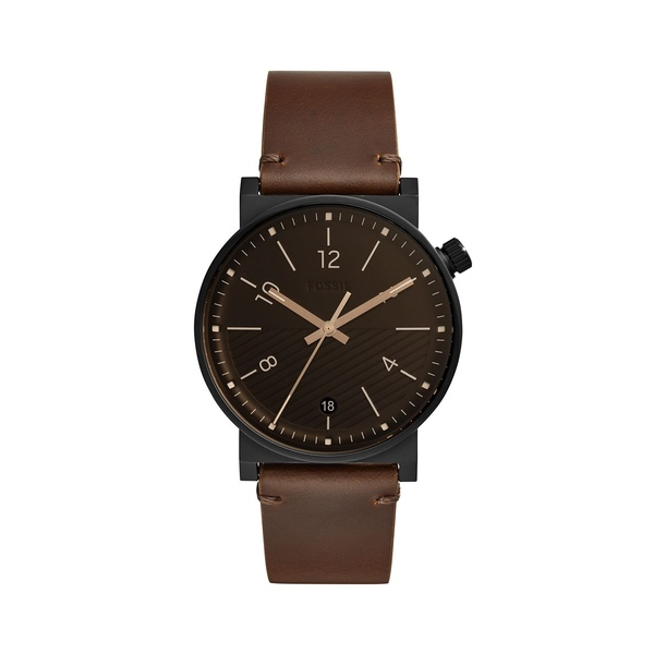 フォッシル メンズ 腕時計 アクセサリー Barstow Three-Hand Stainless Steel and Leather Strap Brown