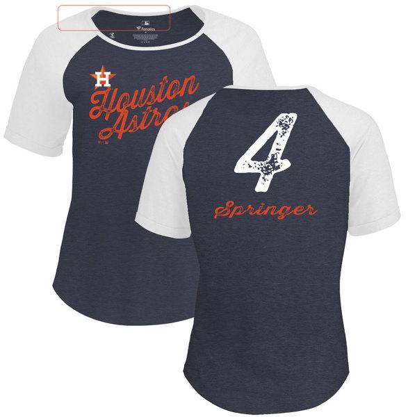 ファナティクス レディース Tシャツ トップス Houston Astros Fanatics Branded Women's Personalized Sideline TriBlend TShirt Navy
