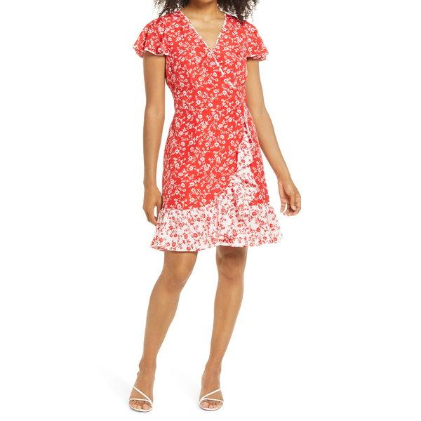 ヴィンスカムート レディース ワンピース トップス Floral Faux Wrap Dress Red