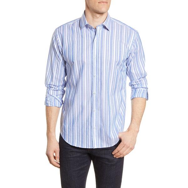 ブガッチ メンズ シャツ トップス Shape Fit Stripe Cotton & Linen Button-Up Shirt Air Blue