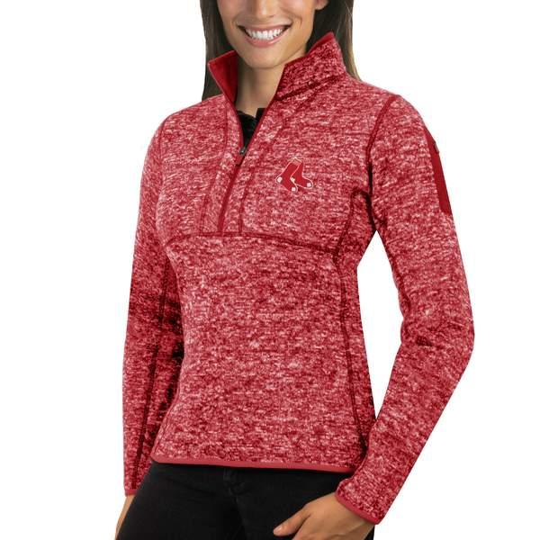 アンティグア レディース ジャケット&ブルゾン アウター Boston Red Sox Antigua Women's Fortune HalfZip Pullover Sweater Heathered Red