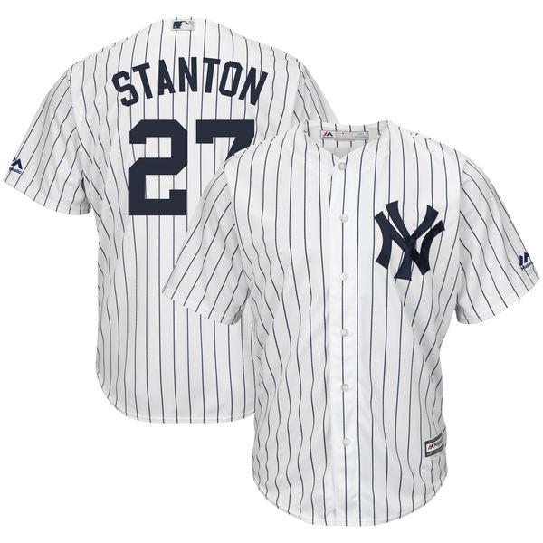 マジェスティック メンズ ユニフォーム トップス Giancarlo Stanton New York Yankees Majestic Home Big & Tall Cool Base Player Jersey White/Navy