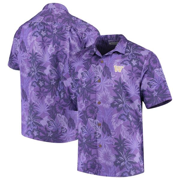 トッミーバハマ メンズ シャツ トップス Washington Huskies Tommy Bahama Fuego Floral Silk Camp Shirt Purple