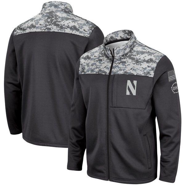 コロシアム メンズ ジャケット&ブルゾン アウター Northwestern Wildcats Colosseum OHT Military Appreciation Fleece FullZip Jacket Charcoal