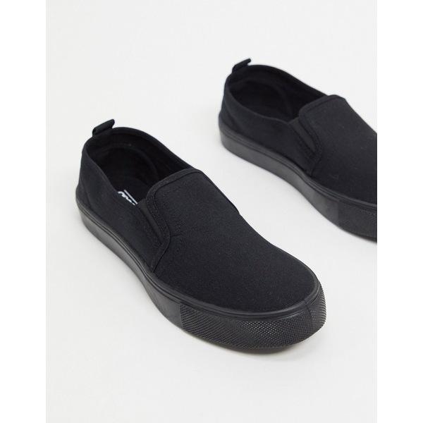 エイソス レディース スニーカー シューズ ASOS DESIGN Dotty slip on plimsolls in black Black