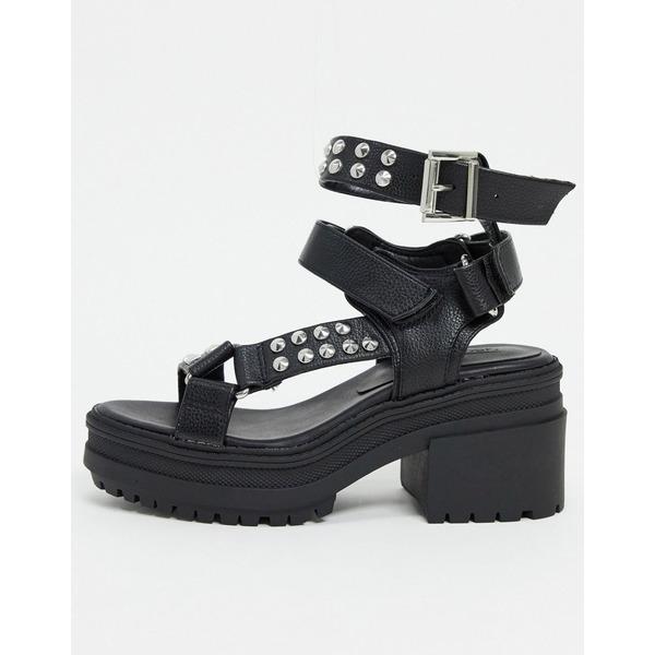 エイソス レディース サンダル シューズ ASOS DESIGN Hawkin studded chunky mid-heeled sandals in black Black w/ studs