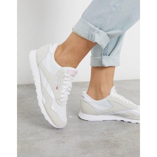 リーボック レディース スニーカー シューズ Reebok Classic Nylon sneakers in white and gray White