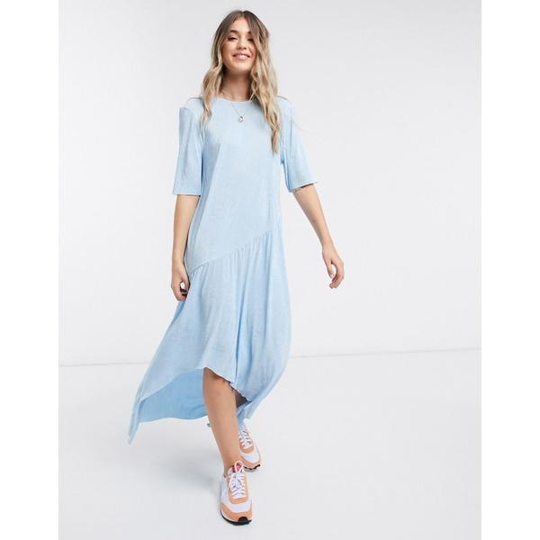 エイソス レディース ワンピース トップス ASOS DESIGN maxi plisse dress with dip hem in blue Blue